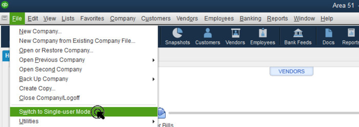 Switch to the single-user mode in QuickBooks