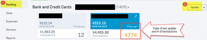 Update bank account in QuickBooks