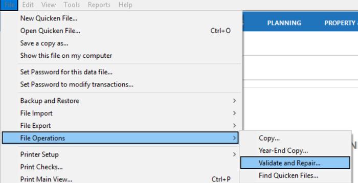 Validate and Repair Quicken File