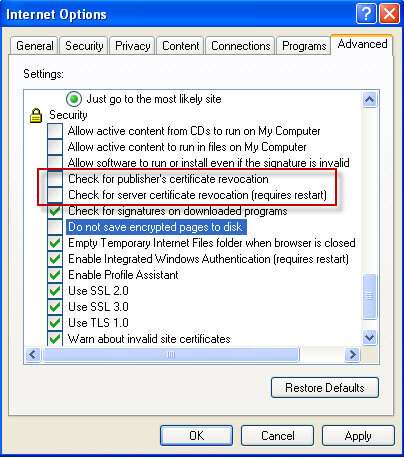 allow publishers' certificate revocation