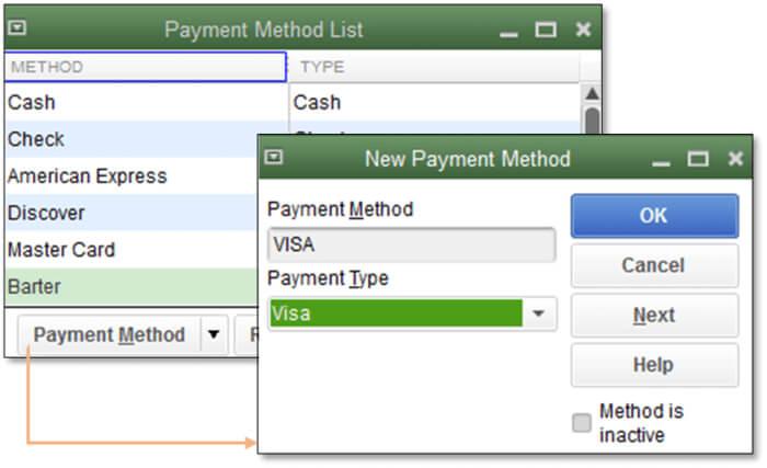 payment method list in QuickBooks