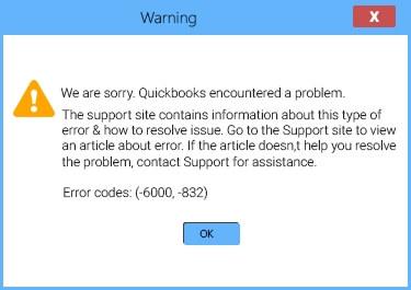 QuickBooks error code 6000 832 message