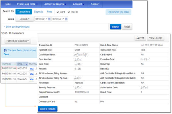 search for transactions in the Merchant Service Center